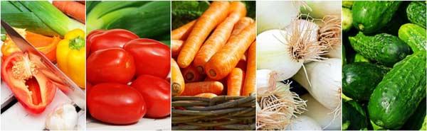 Frisches Gemüse vom Markt für einen frischen und gesunden Salat